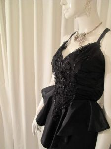 1970's IDEAL HALLOWEEN DRESS  Black taffetta beaded vintage cocktail dress....